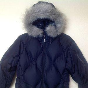 SALOMON Women's SM  80% DownPuffer Black Faux Fur